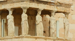 Porch of Caryatids at antique Erechtheion temple in Athens, ancient architecture Stock Footage