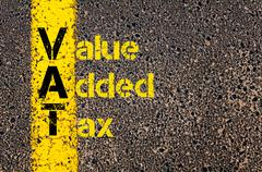 Accounting Business Acronym VAT Value Added Tax - stock photo