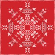 Stock Illustration of Winter pattern in snowflake shape on red background
