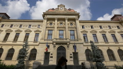 The National Bank of Romania facade in Bucharest Stock Footage