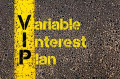 Accounting Business Acronym VIP Variable Interest Plan - stock photo