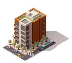 Vector isometric building - stock illustration