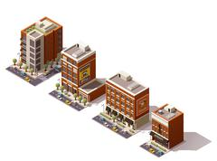 Vector isometric buildings set Stock Illustration