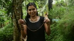 Indian Girl Presenting Handmade Clay Jewellery Stock Footage