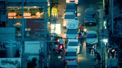Busy Street Scene At Night In Asian City - stock footage
