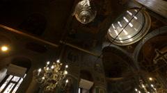 Stavropoleos Church's interior in Bucharest Stock Footage