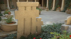 Memorial stone at Stavropoleos Church in Bucharest Stock Footage