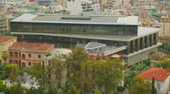 Modern building of new Acropolis Museum in ancient city of Athens, tourism - stock footage