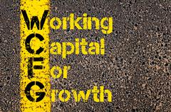 Accounting Business Acronym WCFG Working Capital For Growth - stock photo