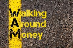 Accounting Business Acronym WAM Walking Around Money - stock photo