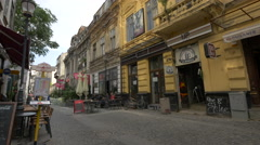 Covaci Street with restaurants and pubs in Bucharest Stock Footage