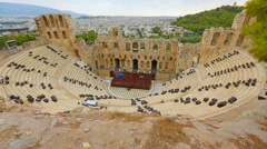 Top view of Odeon of Herodes Atticus, classical stone theater for music concerts Stock Footage
