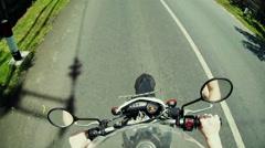 Man driving on moto on big speed on asphalt road - stock footage