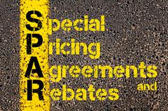Accounting Business Acronym SPAR Special Pricing Agreements And Rebates - stock photo