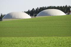 Renewable energy with biogas production facility - stock photo