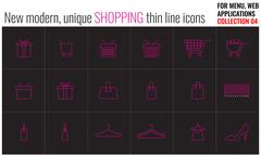 Unique, modern shopping thin line and flat icon set - stock illustration