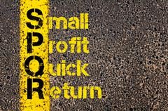 Accounting Business Acronym SPQR Small Profit Quick Return - stock photo