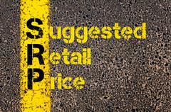 Accounting Business Acronym SRP Suggested Retail Price - stock photo