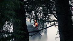 Cars Passing On Wet Road Seen Through Trees Stock Footage