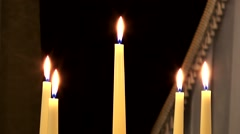 Five burning candles Stock Footage