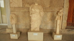 Valuable exhibits at Agora Archaeological Museum, Athens, ancient Greek culture - stock footage