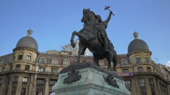 Michael the Brave equestrian statue in Bucharest Stock Footage