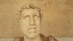 Close-up of Antonius Pius statue at Agora archaeological museum, Roman emperor - stock footage