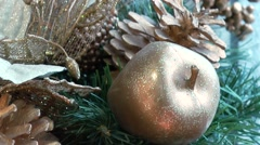Christmas decorations golden apple panning - stock footage