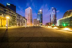 Modern skyscrapers at La Défense at night, in Paris, France. - stock photo