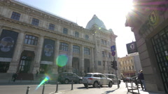 Stock Video Footage of Driving cars by the National Museum of Romanian History in Bucharest