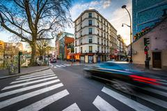 Stock Photo of Intersection of Quai de Valmy and Rue de Lancry in Paris, France.