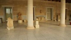 Panorama view inside restored Stoa of Attalos, Ancient Agora, archeology museum Stock Footage