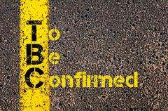Accounting Business Acronym TBC To Be Confirmed - stock photo