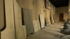 Stone plaques at Stavropoleos Church in Bucharest Stock Footage