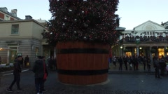 Covent Garden - Pan Down of Christmas Tree. Stock Footage