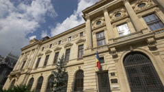 The National Bank of Romania with its beautiful facade in Bucharest Stock Footage