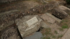 Remains of ancient great drain channel in Agora, ancient water treatment system Stock Footage