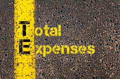 Accounting Business Acronym TE Total Expenses - stock photo