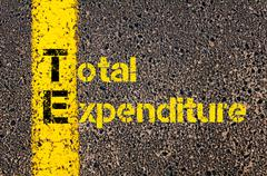 Accounting Business Acronym TE Total Expenditure Stock Photos