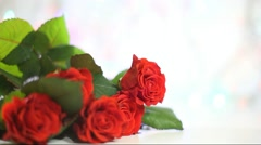 Beautiful roses background with copy space. Greeting card Stock Footage