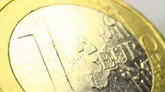 Macro clip of Euro coin Stock Footage