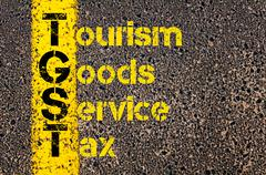 Accounting Business Acronym TGST Tourism Goods and Service Tax - stock photo