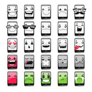 Cartoon Phones Emoticons Stock Illustration