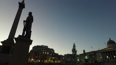 A beautiful evening shot of Nelson's Column with a steady move onto the National Stock Footage
