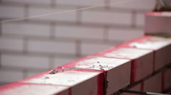 Iron bars for brickwork Bricklaying - stock footage