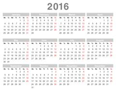 2016 year annual calendar (Monday first, English) - stock illustration