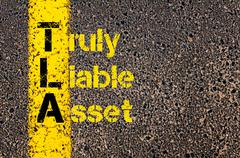 Accounting Business Acronym TLA Truly Liable Asset - stock photo