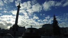 Trafalgar Square London - Fountain, Nelson's Column Stock Footage