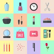 Stock Illustration of Make up flat icons. Vector illustration
