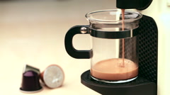 Coffeemaker brewing espresso coffee - stock footage